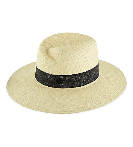 MAISON MICHEL Virginie panama straw hat (Natural+/+navy