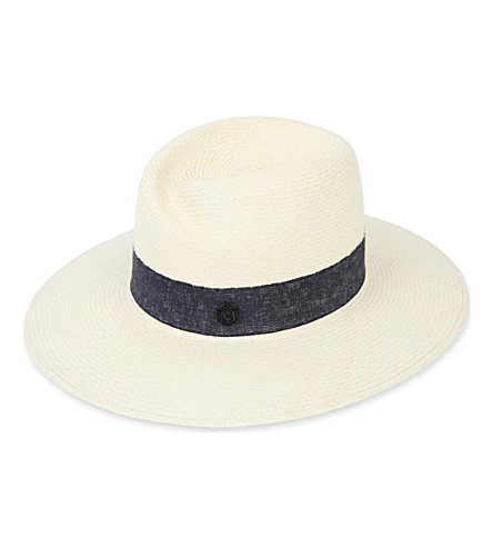 MAISON MICHEL Virginie cuenca straw hat (Natural/navy