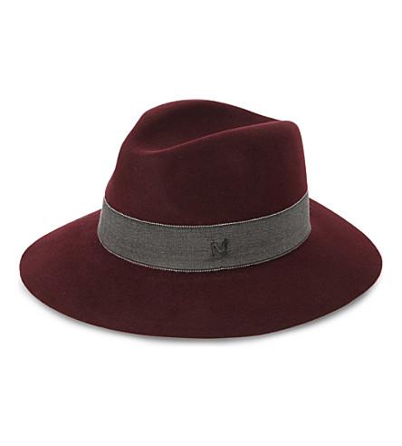 MAISON MICHEL Henrietta felt hat (Charcoal/burgundy