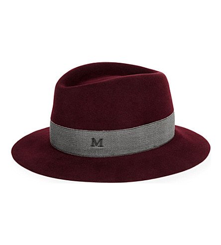 MAISON MICHEL Andre rabbit-felt trilby (Rougenoir/grey