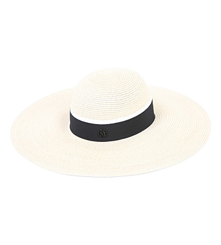 MAISON MICHEL Blanche wide-brim hemp straw hat (Natural/black
