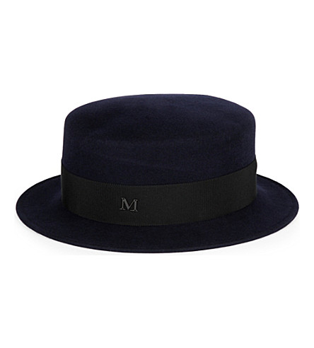 MAISON MICHEL Auguste rabbit-felt boater hat (Navy/black