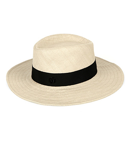 MAISON MICHEL Charles straw hat (Natural+/+black