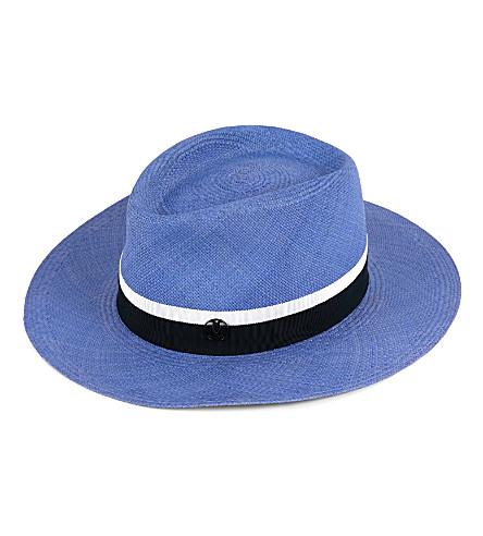 MAISON MICHEL Thadee Panama straw trilby hat (Ghibli+blue