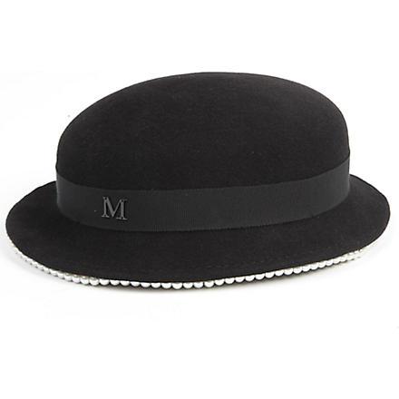 MAISON MICHEL Melanie pearl-trimmed felt hat (Black/ pearl
