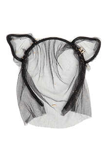 MAISON MICHEL Heidi cat ears headband with veil