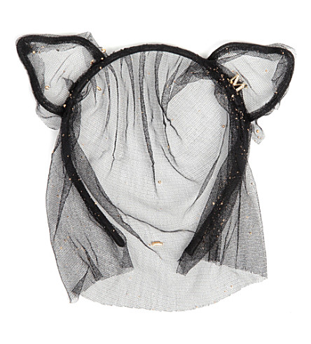 MAISON MICHEL Heidi cat ears headband with veil (Black/ gold