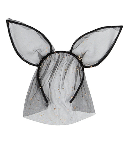 MAISON MICHEL Heidi rabbit ears headband with veil (Black/ gold