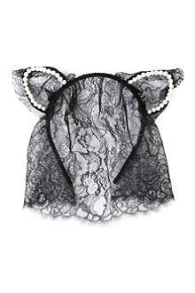 MAISON MICHEL Heidi pearl-embellished cat ears headband with veil