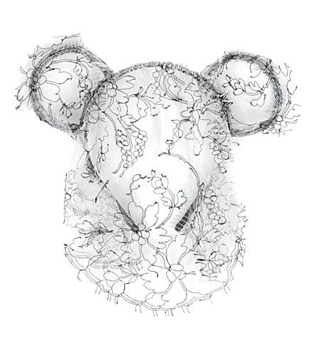 MAISON MICHEL Heidi bear ears headband with veil (Black/ white