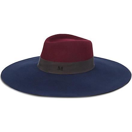 MAISON MICHEL Wide-brimmed trilby hat (Bordeaux/dark blue