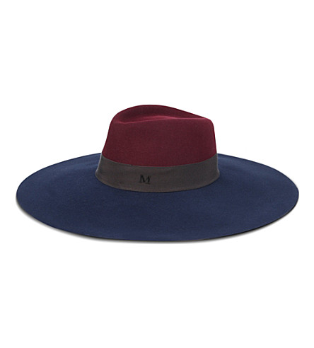MAISON MICHEL Wide-brimmed trilby hat (Bordeaux/dark blue