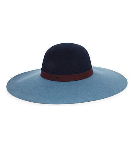MAISON MICHEL Bi-colour felt capeline hat (Dark blue/bordeaux