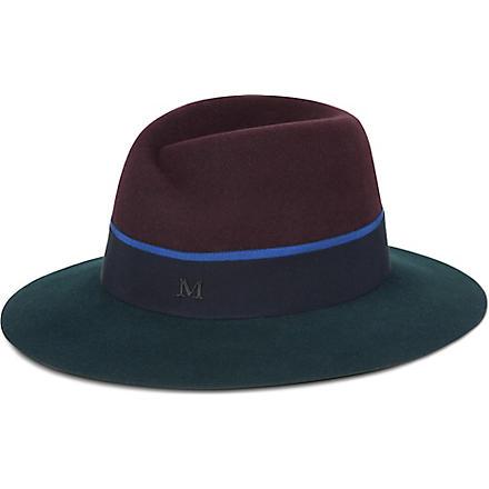 MAISON MICHEL Structured felt trilby hat (Bordeaux/dark green