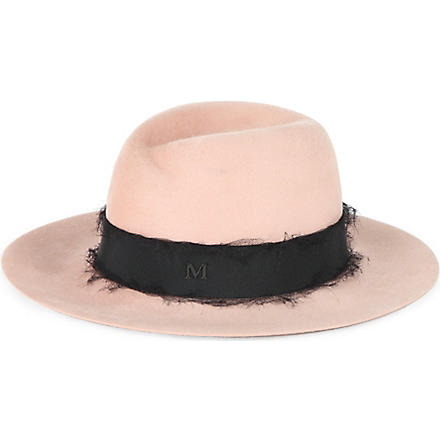 MAISON MICHEL Branded wool trilby (Nude