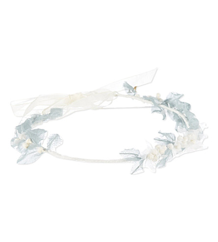 MAISON MICHEL Floral crown headband (White