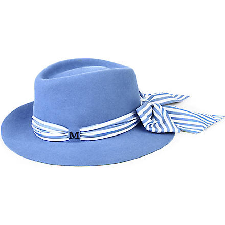 MAISON MICHEL Andre striped-scarf felt hat (White