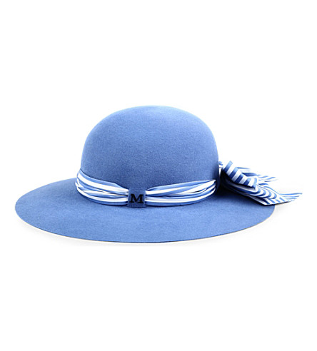 MAISON MICHEL New Alice striped-scarf felt hat (Blue
