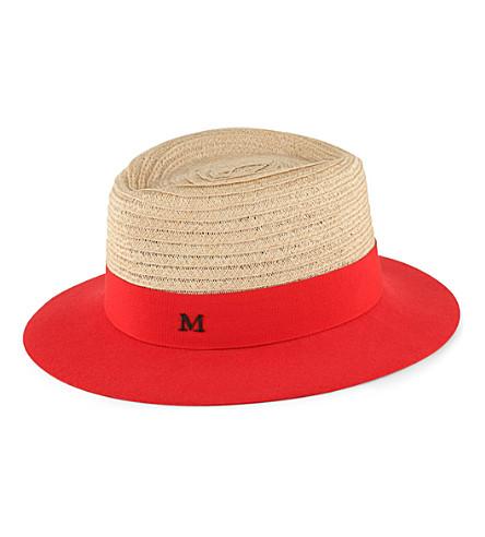 MAISON MICHEL Andre straw trilby hat (Nat crln