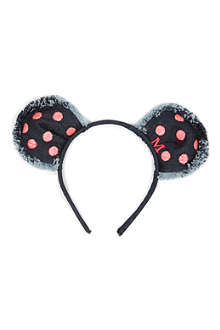 MAISON MICHEL Heidi denim bear polka-dot headband
