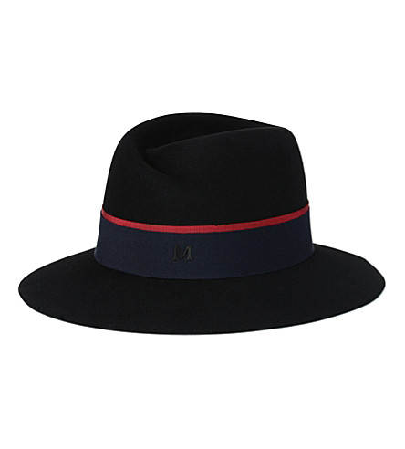MAISON MICHEL Virginie double-ribbon felt hat (Black / cream & blue
