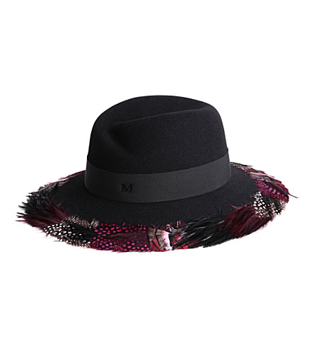 MAISON MICHEL Virginie feather-brim felt hat (Black / plum