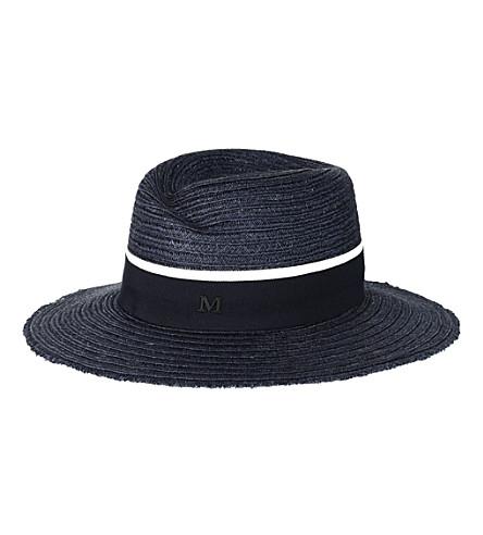 MAISON MICHEL Virginie straw hat (Navy / beige navy