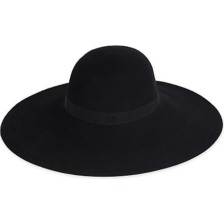 MAISON MICHEL Blanche Capeline wide brim hat (Black