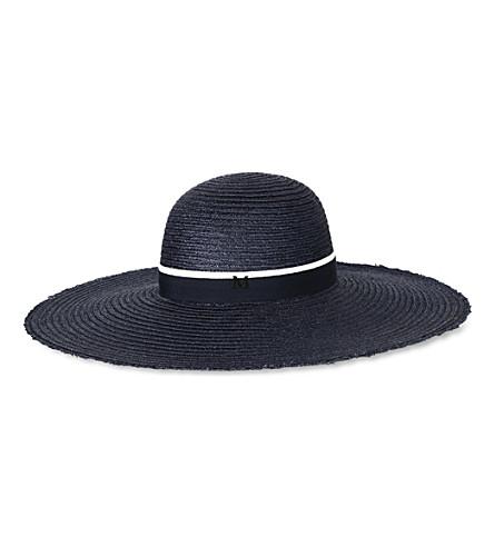 MAISON MICHEL Blanche straw hat (Navy / beige navy