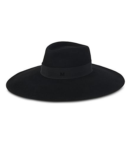 MAISON MICHEL Fara wide-brimmed felt fedora hat (Black