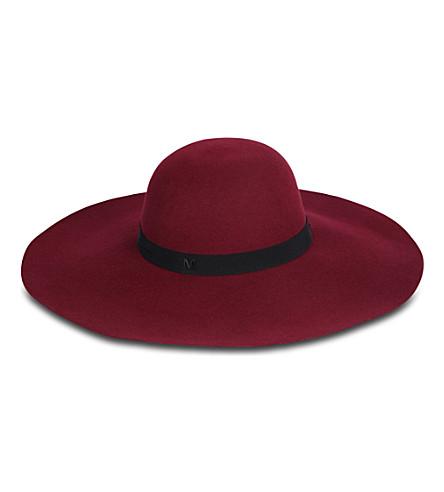 MAISON MICHEL Blanche Capeline wide brim hat (Burgandy