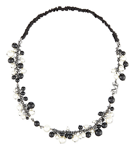 MAISON MICHEL Pearl headband (Black/white