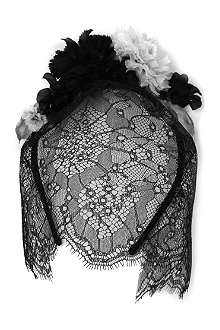 MAISON MICHEL Flower and lace headband with veil
