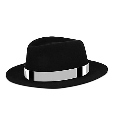 MAISON MICHEL Andre felt trilby hat (Black/silver