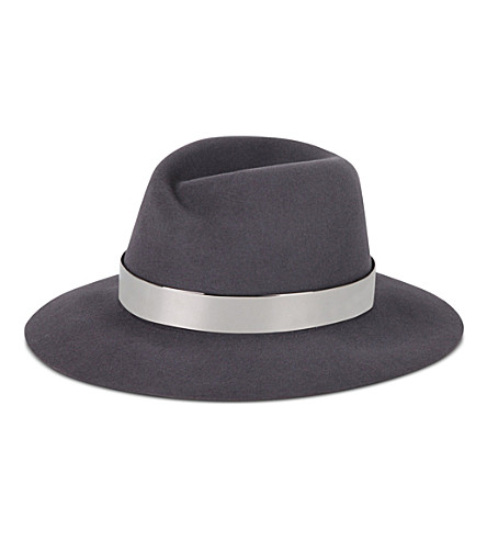 MAISON MICHEL Virginie felt metal band hat (Dark grey/silver