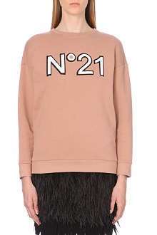 NO. 21 Sequin-embellished logo sweatshirt
