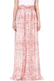 GIAMBATTISTA VALLI Crocodile-print silk maxi skirt