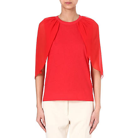 GIAMBATTISTA VALLI Semi-sheer silk cape top (Red