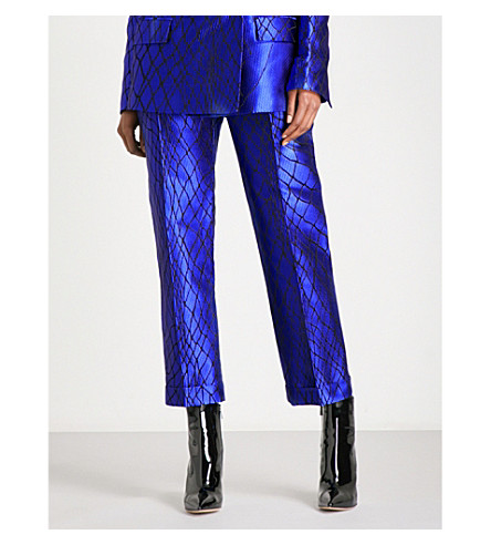 HAIDER ACKERMANN Smiths straight cropped high-rise silk-blend trousers (Blue/black