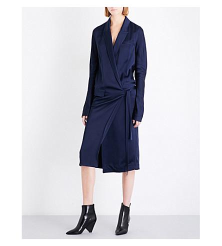 HAIDER ACKERMANN Kuiper satin wrap dress (Shiny+indigo