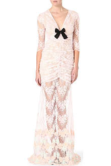 ALESSANDRA RICH Floral-appliquéd ruched lace gown