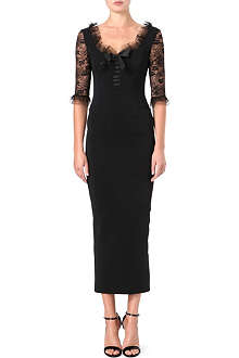 ALESSANDRA RICH Lace-sleeve bustier dress