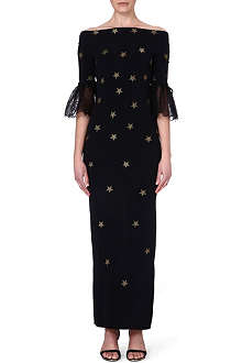 ALESSANDRA RICH Star-print silk-blend dress