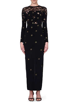 ALESSANDRA RICH Lace-detailed star-print dress