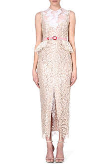 ALESSANDRA RICH Peplum-waist lace dress