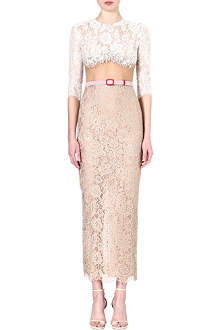 ALESSANDRA RICH Lace dress with sheer mesh and crystals