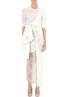 ALESSANDRA RICH Lace drape long-length gown