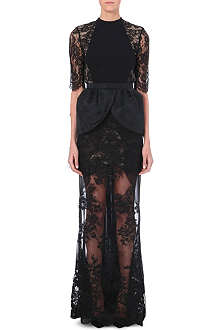 ALESSANDRA RICH Open back long-length lace gown