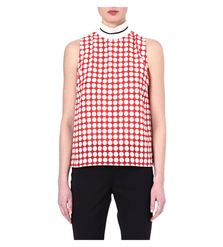 UNGARO Sleeveless silk polka dot top (Red