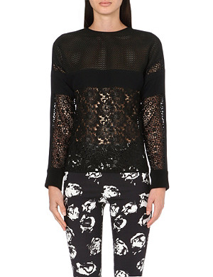 UNGARO Mesh and lace top